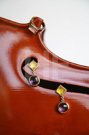 Ring und Ohrringe mit Cello