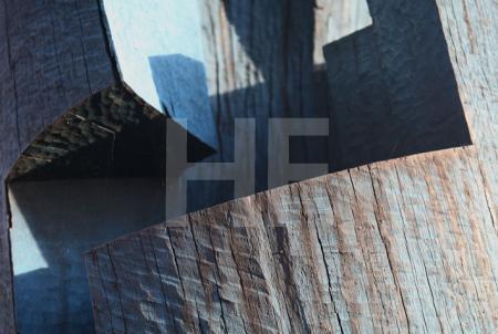 Detail einer Holzskulptur