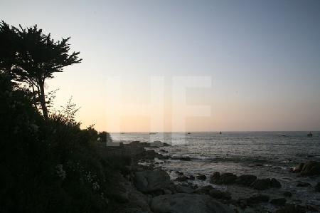 Bretonischer Strand mit Abendrot