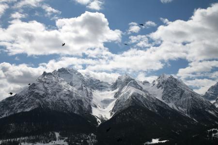 Blick auf die Gipfel der Sesvennagruppe im Unterengadin, Schweiz (2)