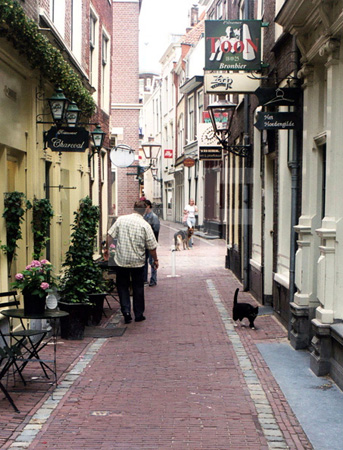 Gasse in Leiden, Holland