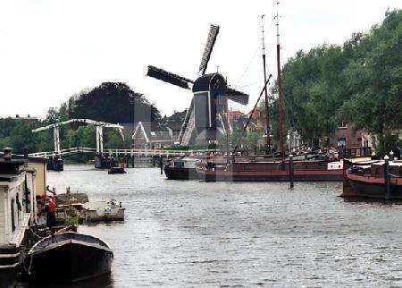 Blick über das Galgewater auf die Windmühle am Morssingel, Leiden, Holland