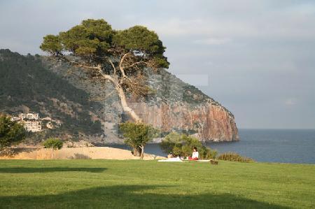 Der Blick vom Hotel Can Simoneta auf die Bucht von Canyamel, Mallorca