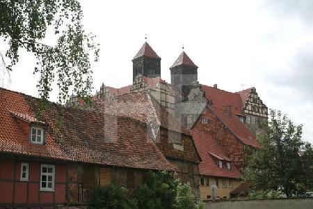 Blick auf den Schloßberg in Quedlinburg