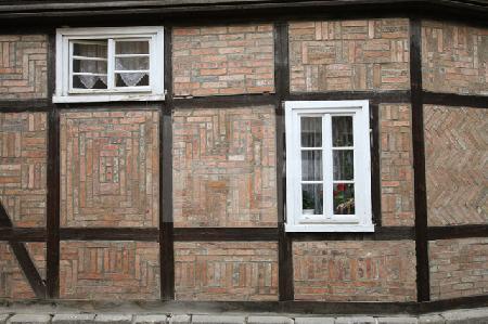 Fachwerkfassade mit Klinkermuster in Quedlinburg
