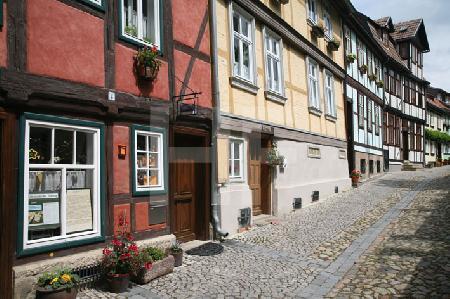 Die Häuser am Schloßberg in Quedlinburg