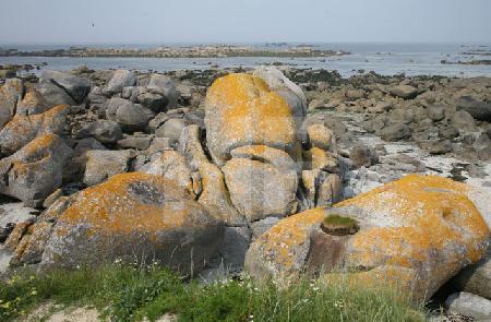 Blick auf die Felsen von Brignogan Plage, Bretagne