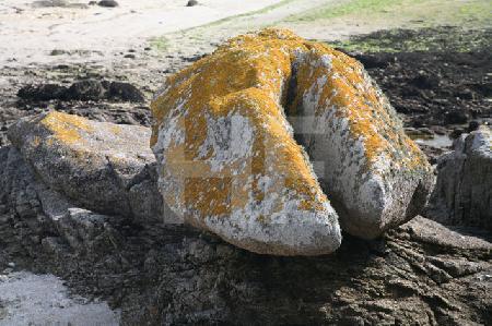 Hufförmiger Felsen am Strand von Brignogan, Bretagne