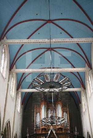 Die Decke des Hauptschiffs der Kirche in Plouescat,  Bretagne