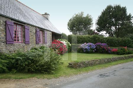 Haus mit lila Fensterläden in Finistere, Bretagne