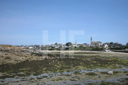 Blick auf den Hafen der Ile de Batz, Bretagne