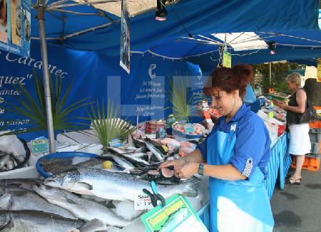 Fischstand am Markt von Lesneven, Bretagne