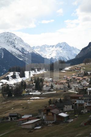 Blick auf Ftan im Unterengadin, Schweiz