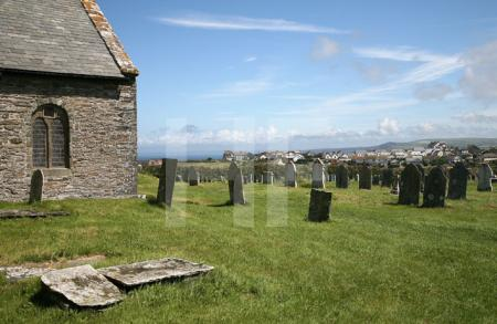 Der Friedhof von Tintagel Church, Cornwall