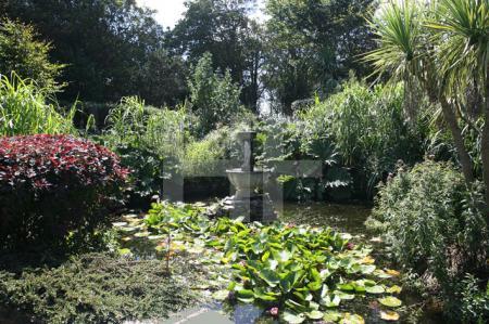 Der Seerosenteich im Garten des Longcross Hotels bei Trelights, Cornwall