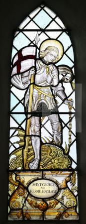 St George in einem Fenster der Kirche von Elam, Kent